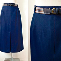 Navy Blue Pencil Skirt - 70's Vintage Skirt - Dacron Polyester - Workers Union Label