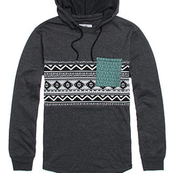 On The Byas Lang Pieced Print Hooded Pullover Shirt  Mens
