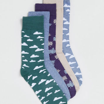 CLOUD AND LEAF MOTIF 5 PACK SOCKS  Exclusives  Clothing