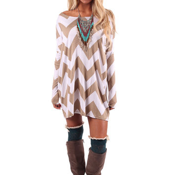 Mocha Chevron Print Shift Dress