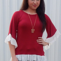 Just for Frills Top {Deep Red/White}