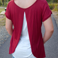 Double Take Top {Deep Red/White}