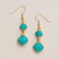 Gold and Turquoise Double Drop Earrings - World Market