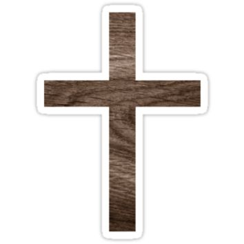 Wood cross sticker