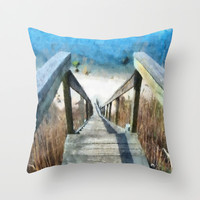 Just Steps to the Beach Throw Pillow by MadDog