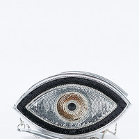 Sunita Mukhi Eye Shaped Clutch in Black and Silver - Urban Outfitters