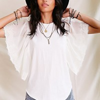 Urban Renewal Lace Flutter Sleeve Tee - Urban Outfitters