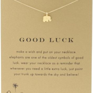 "Dogeared Reminder ""Good Luck"" Gold-Plated Sterling Silver Elephant Pendant Necklace,…"