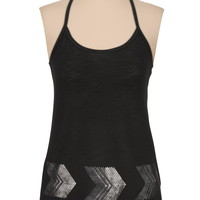 metallic chevron border racerback tank