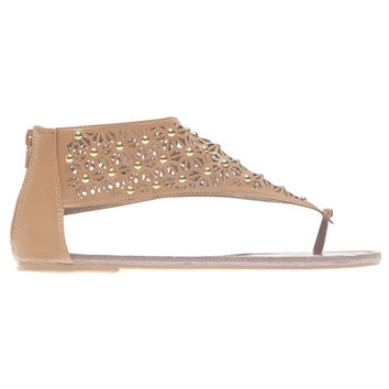 Studded Perforated V-Strap Sandals  Wet Seal