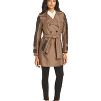 Jones New York Women's Double-Breasted Trench Coat With Quilted Sleeves