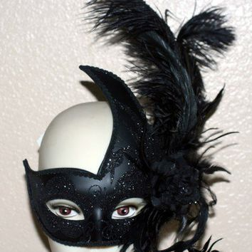 VENETIAN Mardi Gras Masquerade Ball Womens BLACK SWAN MASK with FEATHERS New on eBay!