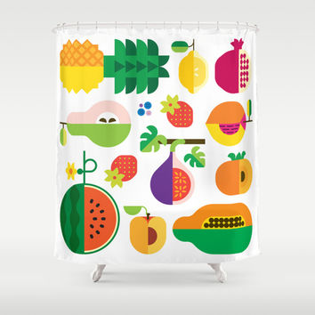 Fruit Medley White Shower Curtain by Christopher Dina | Society6