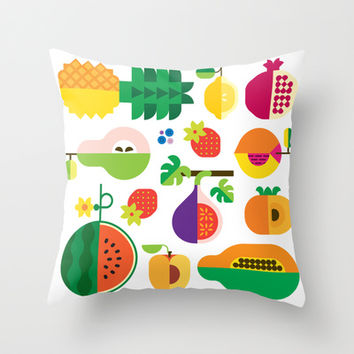 Fruit Medley White Throw Pillow by Christopher Dina