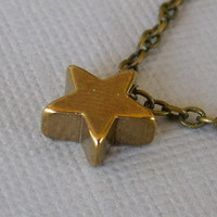 Star Necklace, Star Bead, Brass Star Charm Necklace, Star Jewelry