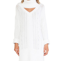 Derailed Cable Knit Jumper Dress in White