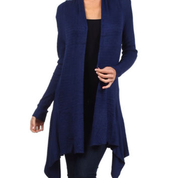In Style Crochet Knit Long Navy Cardigan