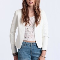 Talk Of The Town Faux Leather Blazer