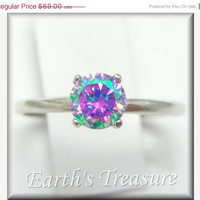 LABOR DAY SALE Unique Engagement Ring Lunar Lavender Mystic Fire Cz 1ct  Sterling Silver Tiffany Solitaire Ring Custom Sized 2-16 , Promise