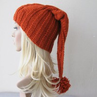 Orange Brick Color Beanie Hat, Chunky Slouchy Hat with Big Pom Poms......