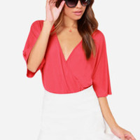 LULUS Exclusive Here For The Applause Coral Red Bodysuit