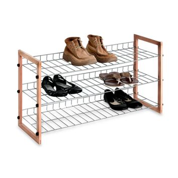 3-Shelf WoodenMetal Shoe Rack