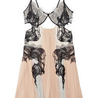 Discount Julien Macdonald Lace-detailed silk-chiffon dress | THE OUTNET