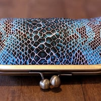 SALE  - Was 42.00 - Silk Snake Print Clutch with Antique Brass 6 inch Frame