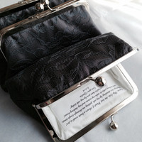 Personalized Bridesmaids gifts - Charcoal Lace Clutches