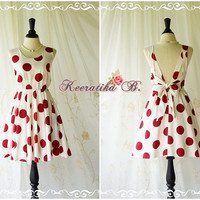 A Party V Shape Dress White Red Polka Dot Dress Backless Dress Wedding Bridesmaid Dress Prom Party Dress Vintage Retro Inspired Custom Made