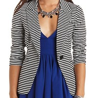 STRIPED SINGLE BUTTON BOYFRIEND BLAZER