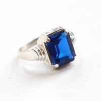 Vintage Art Deco Sterling Silver Ostby & Barton Simulated Sapphire Ring - 1930s Size 6 Hallmarked OB Emerald Cut Created Blue Spinel Jewelry
