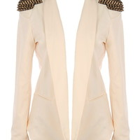 Spiked Shoulder Blazer | Studded Beige Juniors Jackets | RicketyRack.com