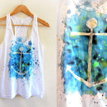 Anchors Away - Splash Dyed Scoop Neck Racerback Tank Top in White Spectrum Ocean - XS S M L
