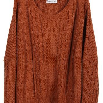 Sheinside Women Batwing Long Sleeve Pullovers Loose Sweater
