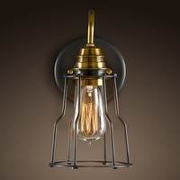 Industrial Cage Filament Sconce - Aged Steel
