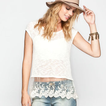 Full Tilt Hachi Knit Lace Trim Womens Top Oatmeal  In Sizes