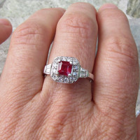 Very pretty Square Red Ruby Ring in Platinum Plated Silver July Birthstone Jewelry