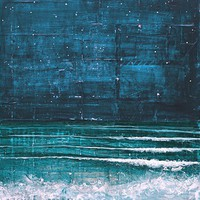 Huge 16 x 20 paper print - Night Swimming - deep blues, turquoise, teal oceanscape, beach waves, words and collage