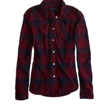 AEO FACTORY PLAID BUTTON SHIRT