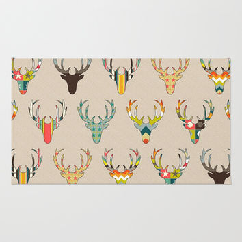 retro deer head on linen Rug by Sharon Turner | Society6