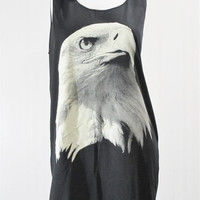 Eagle Bird Cute Head Animal Design Art Chic Eagle Tank Top Black Tunic Singlet Mini Dress Shirt Women Eagle T-Shirt Animal T-Shirt Size S M