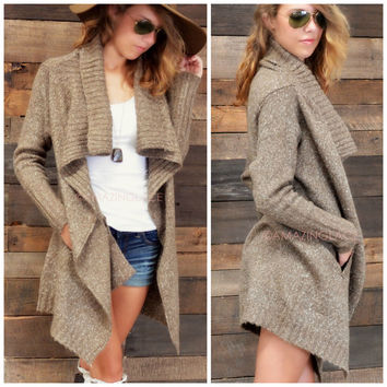 Roasting Marshmallows Mocha Cardigan