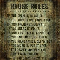 House Rules Print, Keep the clan in order and point to this beautifully aged but still relevant orders of the house!