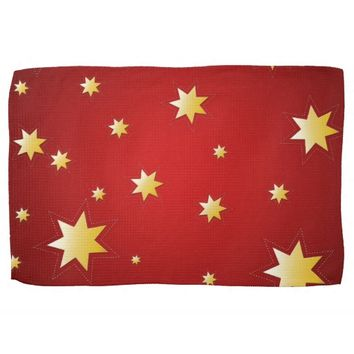 Christmas sparkling stars on red