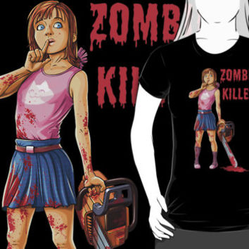 Zombie Killer - Cute Girl With a Chainsaw T Shirt