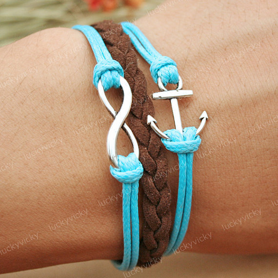 Bracelet-Infinity karma bracelet-Anchor bracelet- Gift for girl friend