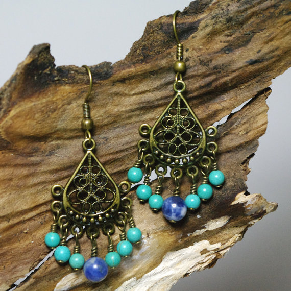 Sale - Chandelier Howlite and Sodalite Beaded Earrings - Patience, Harmony and Peace