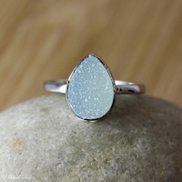 SALE Silver Baby Blue Druzy Ring - Pear Shape Ring - Something Blue, Geode Rings