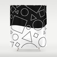 Black and White Geometric Shape Wave Divide Modern Pattern Shower Curtain by Natural Design